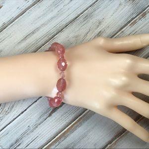 Pink strawberry quartz beaded bracelet with toggle